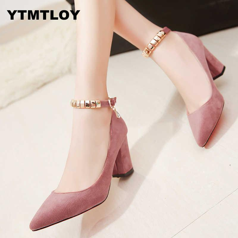 Spring Autumn Women Pumps Sexy buckles High Heels Shoes Fashion Pointed Toe Wedding Party Square Heel String Bead - ladystreets