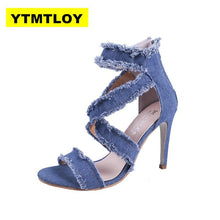 Load image into Gallery viewer, Peep Toe Gladiator Shoes Women Pumps Denim High Heels Cutout Stiletto Zip Thin Heels Party Shoes Blue Super High - ladystreets