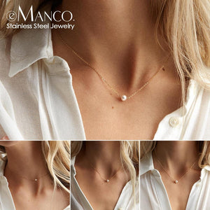 e-Manco stainless steel choker pearl necklaces for women gold layered Chain necklace jewelry - ladystreets