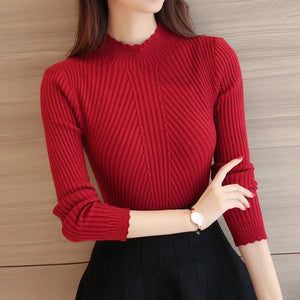 Knitted Sweater Turtleneck Women Winter Autumn 2018 Long Sleeve Female Slim Thin Ladies Tops Women's Pullovers Pull Femme Hiver