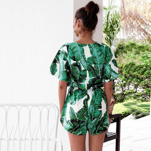 Flare Sleeve Floral Print Romper with Belt Women Summer Beach V Neck Sexy Jumpsuit Short Overalls Casual Boho Bodysuit