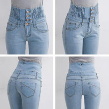 Load image into Gallery viewer, Spring High Waist Jeans Women's Pencil Pants Elastic Waist Single Breasted Trousers For Women Plus Size Summer Leggings Woman - ladystreets
