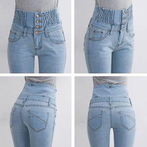 Spring High Waist Jeans Women's Pencil Pants Elastic Waist Single Breasted Trousers For Women Plus Size Summer Leggings Woman - ladystreets