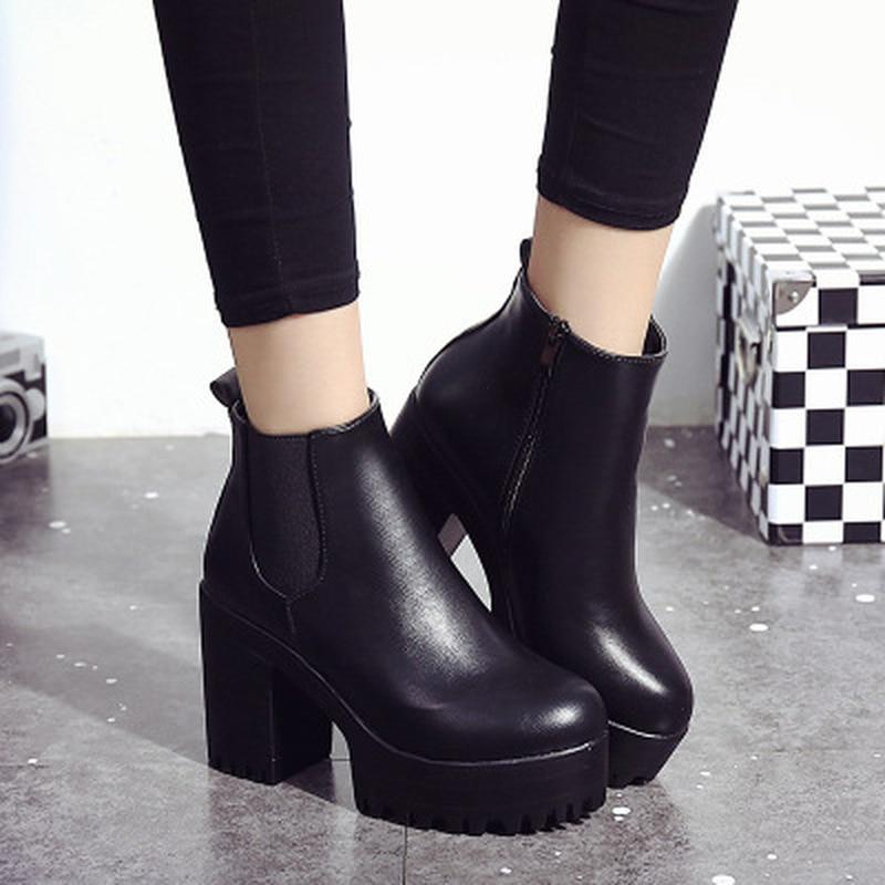 Chelsea Boots 2019 Female Leather Women Boots Thick Heels Ankle Boots For Women Round Toe Winter Shoes Women Flat Platform Boots - ladystreets