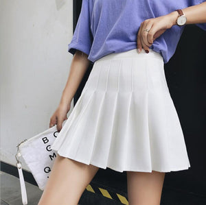 Women high waist pleated skirt Sweet Cute Girls Dance Mini Skirt Cosplay black white skirt Fashion Female Mini Skirts Short - ladystreets