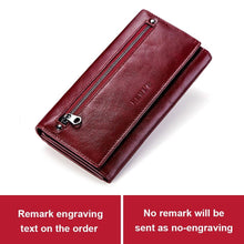 Load image into Gallery viewer, KAVIS Free Engraving Genuine Leather Women Wallet and Purse Female Coin Purse Portomonee Clamp For Money Bag Zipper Handy Perse - ladystreets