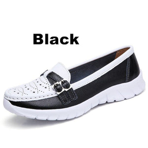 Ladies Women Female Mother Genuine Leather Shoes Flats Moccasin Loafers Slip On Hollow EVA - ladystreets