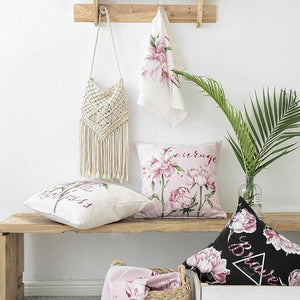 Cotton Linen Pillow Cover Country Style Peony Floral Pink Tulip Cushion Cover Home Decorative Pillow Case 45x45cm/60x60cm - ladystreets
