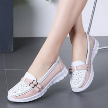 Load image into Gallery viewer, Ladies Women Female Mother Genuine Leather Shoes Flats Moccasin Loafers Slip On Hollow EVA - ladystreets