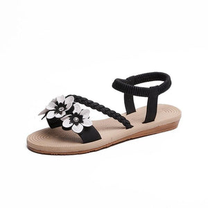Summer Shoes Woman Sandals Elastic ankle strap Flat Sandalias Mujer 2020 Flowers Gladiator Beach Sandals Ladies Flip Flops - ladystreets