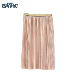 Velvet Pleated Skirt Pleated Smooth Long Skirt Summer Winter New Casual Loose Kids High Waist Elastic Children Girls Skirts - ladystreets