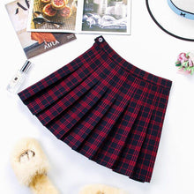 Load image into Gallery viewer, Plus Size Harajuku Short Skirt New Korean Plaid Skirt Women Zipper High Waist School Girl Pleated Plaid Skirt Sexy Mini Skirt - ladystreets