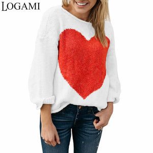 LOGAMI Heart Knitting Ladies Sweater Women Loose Pullover Long Sleeve Autumn Winter Pullovers And Sweaters