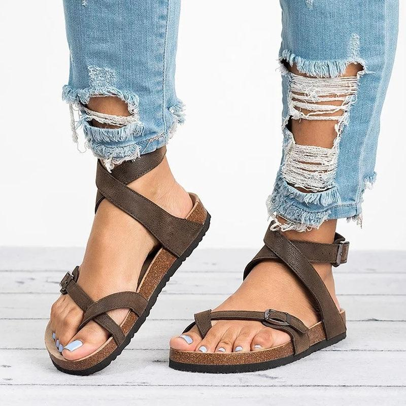 Women Sandals 2019 New Women Summer Shoes Leather Gladiator Sandals Women Beach Sandals Lady Flat Flip Flop - ladystreets