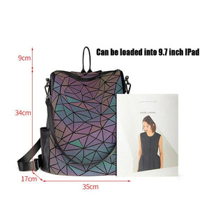 New Women Luminous School Backpack For Teenage Girls Fold Geometry Schoolbags Backpack Holograph School Bags bag pack Mochila - ladystreets