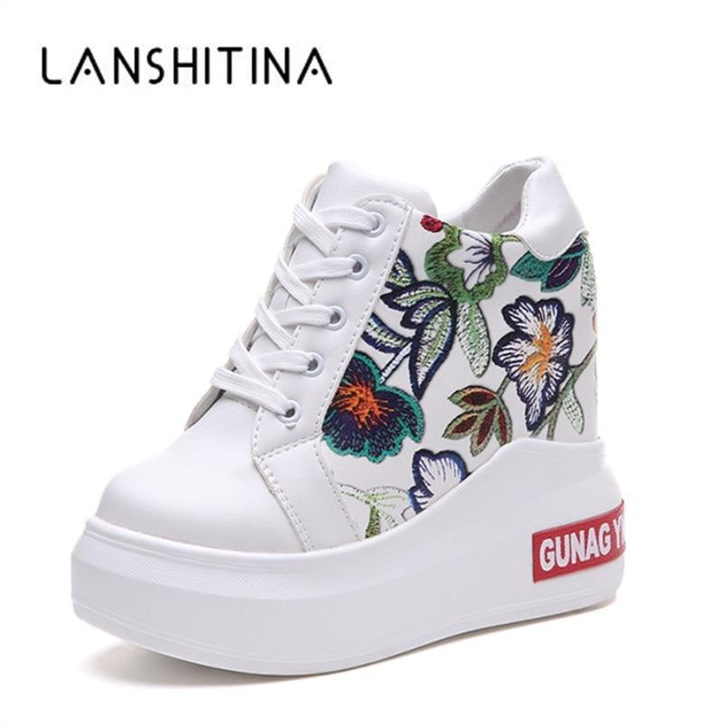 Summer Women High Platform Shoes Height Increasing Ladies Sneakers Spring Trainers Pu Leather Shoes Breathable Casual Shoes - ladystreets