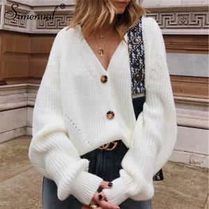 Simenual Casual Fashion Knitted Cardigans Sweater Women Solid Basic Autumn Winter Jumpers 2019 Long Sleeve Button V Neck Sweater