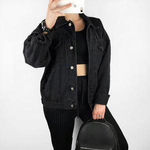 Wixra Casual Classic Solid Color Denim Jackets 2019 Spring Autumn Casual Single Breasted Turn-Down Collar Jacket For Women