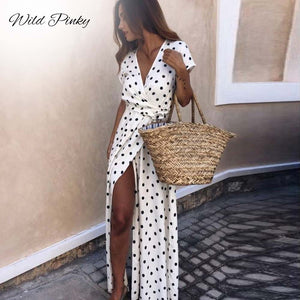 WildPinky Boho Polka Dot Long Dresses Women Split Short Sleeve Summer Casual Dress 2020 Streetwear Black Maxi Dress Vestidos