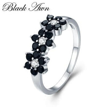 Load image into Gallery viewer, 925 Sterling Silver Fine Jewelry Flower Bague Black Spinel Wedding Rings for Women Girl Party Gift C464 - ladystreets