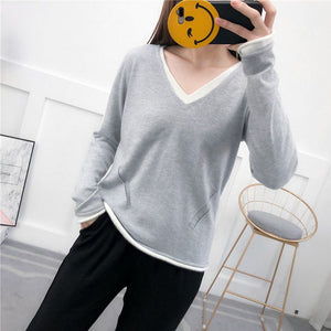 spring and autumn Cashmere Sweater Women 2019 V-neck Knitted Pullover Female Soft Cashmere Jumper Casual Sweaters