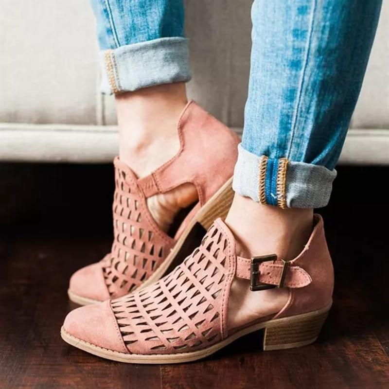 Gladiator Sandals Casual Shoes Sandals Women Fashion Low Heel Hollow Ladies Sandals Femme 2019 Shoes Women Sapato Feminino - ladystreets