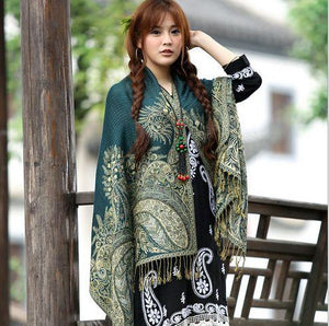 LaMaxPa New Women Elegant Reversible Floral Paisley Pashmina Shawl Wrap Scarf Femme Noble Echarpe Vrauw Grace Sjaals Mujer Chal - ladystreets
