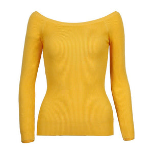 Wixra Warm and Charm Off Shoulder Knitted Sweater Women Autumn Elegant Jumper Pull Femel Winter High Stretch Knitwear Top