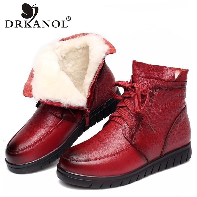 Women Snow Boots Vintage Genuine Leather Natural Wool Fur Winter Warm Ankle Boots For Women Flat Mother Shoes - ladystreets