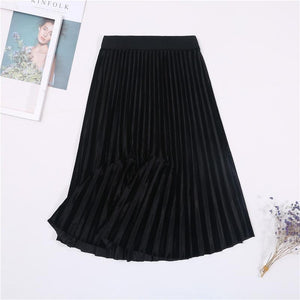 Ladies Vintage Autumn Winter Women Velvet Skirt High Waisted Elegant Sexy Skinny Black Pleated Skirts Female Maxi Skirts Womens - ladystreets