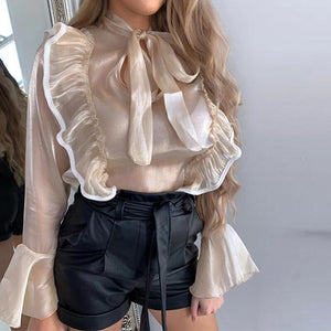 Spring Polka Dot Ruffle Blouse Shirt Elegant Fashion O Neck Buttons Streetwear Tops Lady Autumn Long Sleeve Pullover Women