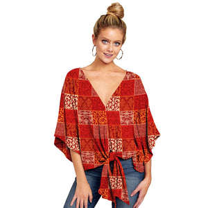 Summer Casual Loose Women Blouse Plus Size 5XL Batwing Sleeve Deep V Shirts Femme Print Tie Cotton Irregular Pullovers Female
