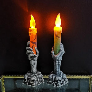 2Pcs Halloween Horror Skeleton Handheld LED Candle Light Decoration Haunted House Skeletons Home Party Bar Decoration - ladystreets