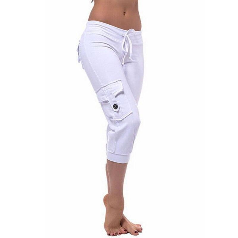Solid Short Pants Women Cropped Capri Pants Stretch Calf-length Trousers Spring Ladies Casual Stretchy Pants - ladystreets
