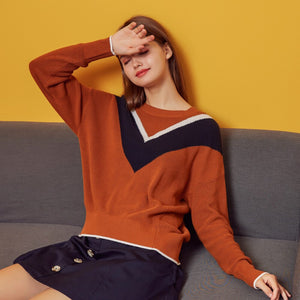 Metersbonwe 2019 Striped Panelled Colour Knitted Sweater Women Pullovers Autumn Winter Basic Women Sweaters Slim Fit