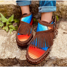 Load image into Gallery viewer, Colorful Stripe Flats Boots Casual Tassel Suede Leather Sewing Women Ankle Boots Winter Comfort Moccasin Ladies Flats Footwear - ladystreets