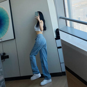 Cheeky Straight Jeans for Women High Waist Loose Non Stretch Denim With Slim Relaxed Fit Vintage Inspired Feel Pants - ladystreets