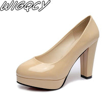Load image into Gallery viewer, Women Pumps Fashion Classic Patent Leather High Heels Shoes Nude Sharp Head Paltform Wedding Women Dress Shoes Plus Size 34-42 - ladystreets