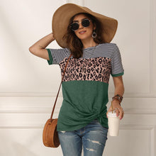 Load image into Gallery viewer, Women 2020 Summer Tee Shirt Female Leopard Stripe Print T Shirt Casual Tops Fashion Streetwear Short Sleeve Cotton T shirt S-XXL