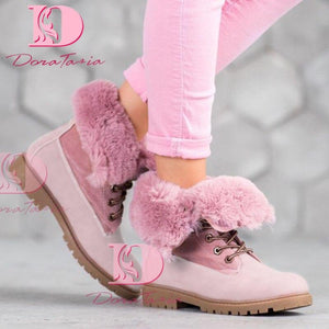 DoraTasia Brand New INS Hot Ladies Chunky Heels Ankle Boots Fashion Winter Warm Fur Snow Boots Women 2020 Casual Shoes Woman - ladystreets