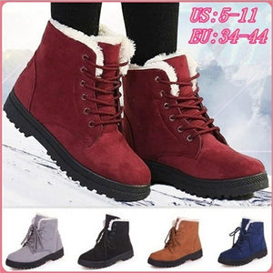 Women Boots Plus Size 44 Snow Boot For Women Winter Shoes Heels Winter Boots Ankle Botas Mujer Warm Plush Insole Shoes Woman - ladystreets