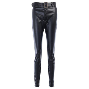 InstaHot InstaHot Black Belt High Wiast Pencil Pants Women Faux Leather PU Sashes Trousers Casual Sexy Exclusive Design Capris - ladystreets