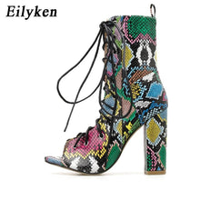 Load image into Gallery viewer, Eilyken 2020 New Design Ankle Boots For Women Green Peep Toe Lace-Up Cross-tied heel Pumps Roman Women Bootas Sandals - ladystreets