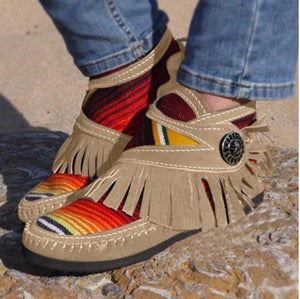 Colorful Stripe Flats Boots Casual Tassel Suede Leather Sewing Women Ankle Boots Winter Comfort Moccasin Ladies Flats Footwear - ladystreets