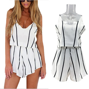 Summer Sexy V Neck Rompers Women Fashion Jumpsuit Two-piece suit Lady White Strap Striped Playsuit Plus Size S-XL