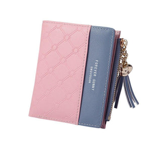 New Fashion Women Wallets For Woman Wallet Color Tassel Heart Hasp Zipper Purse Female Card Holder Short Ladies Coin Purse - ladystreets