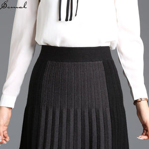 SOMAL Knitted Midi Pleated Skirt For Women High Waist Solid Casual Party Skirt Korean Ladies Autumn Winter Fashion 2020 Black - ladystreets