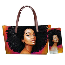 Load image into Gallery viewer, FORUDESIGNS African American Girls Printed Tote Bags for Women Casual Ladies Shoulder Handbags Female Top-handle Bag with Wallet - ladystreets