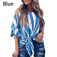 Load image into Gallery viewer, Fashion Women Cold Off Shoulder Stripe Loose Tops Butterfly Short Sleeve O-neck Summer Casual Baggy Tie Knot Blouse Shirt