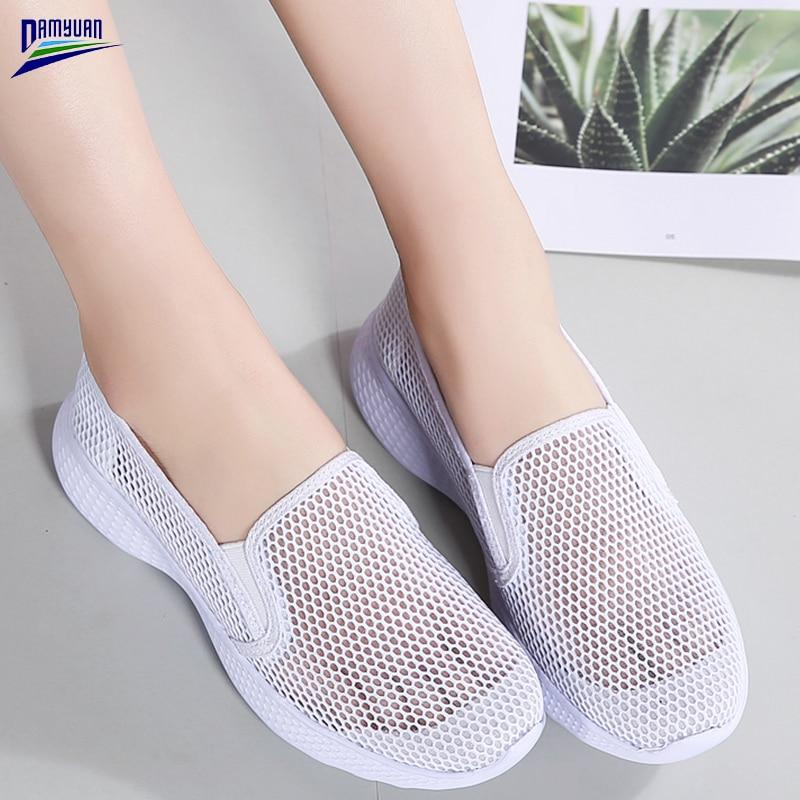 Damyuan Flat Shoes Women Platform Zapatos De Mujer Mesh Casual Sandalie 2020 New Spring Summer Slip on Loafers Ladies Breathable - ladystreets